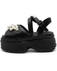 Simone Rocha Platform Track Sole Embellished Sandal - Black