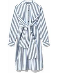 PROENZA SCHOULER WHITE LABEL Stripe Poplin Tied Shirt Dress - Blue