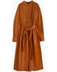 Proenza Schouler Pintuck Leather Dress - Brown