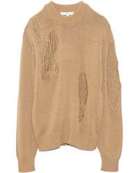 Tibi Applique Cotton Crewneck Pullover - Natural