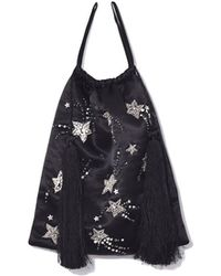 Attico - Satin Pouch With Sequins, Stars, And Pearls In Black - Lyst
