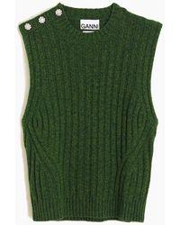 Ganni Wool Mix Vest - Green