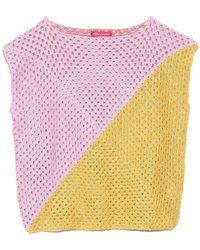 Rose Carmine Diagonal Pastel Sleeveless Top - Pink