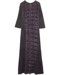 Raquel Allegra Half Sleeve Drama Maxi Dress - Grey