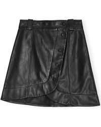 Ganni Lamb Leather Mini Skirt - Black