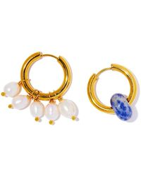 Timeless Pearly Mismatched Pearl Hoop Earring - Metallic