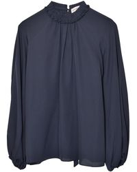 Dice Kayek Ruffle Neck Tie Back Shirt - Blue