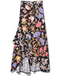 Peter Pilotto - Printed Waffle Ruffle Skirt In Botanical Black - Lyst