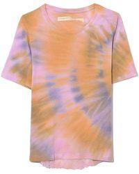 Raquel Allegra Boxy Tee In Solar Tie Dye - Purple