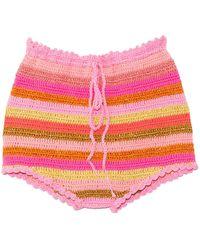 Rose Carmine Stripe Culotte - Pink