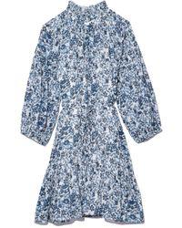 Apiece Apart Victoria Mock Dress In Potpourri Navy - Blue