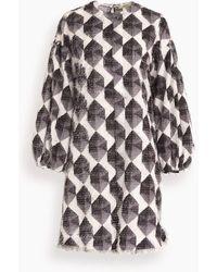 ODEEH A-line Puff Sleeve Dress - Multicolour