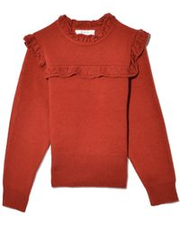 Sea Caroline Ruffle Pullover In Sienna - Red