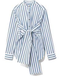 PROENZA SCHOULER WHITE LABEL Stripe Poplin Tied Shirt - Blue