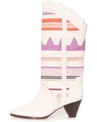 Isabel Marant Leesta Woven Western Boots - Pink