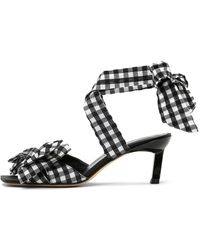 Ganni Seersucker Check Heeled Sandal - Black