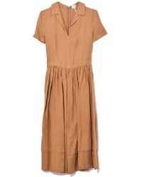 98dfee1fdfd Aspesi - Short Sleeve Linen Dress In Tobacco - Lyst
