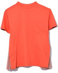 Sacai - Side Pleated Top In Orange/pink - Lyst