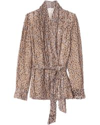 Forte Forte Eagle Print Devore Velvet Belted Jacket - Brown