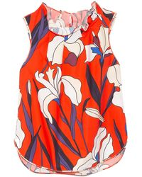 ODEEH Pleated Collar Floral Top - Red