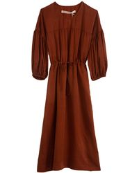 Raquel Allegra Silk Sateen Bell Sleeve Dress - Brown