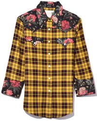 R13 - Exaggerated Collar Cowboy Shirt In Yellow/black Floral - Lyst