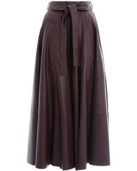 Zimmermann Resistance Leather Skirt In Mahogany - Brown