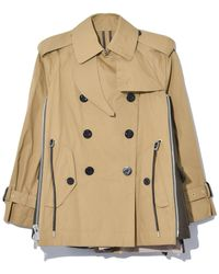 Sacai Cotton Coating Jacket In Beige/khaki - Natural
