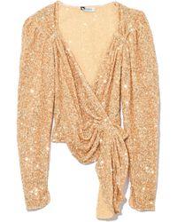 ea77febb3459e6 Attico - Full Paillettes Long Sleeve Wrap Top In Gold - Lyst