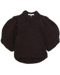 Tibi Deluxe Tubeyarn Sweater Mini Puff Pullover - Black