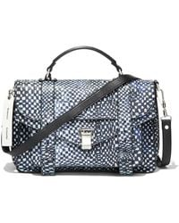 Proenza Schouler Ps1 Micro Printed Leather Top-handle Bag - Blue