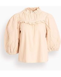 Sea Layla Quilted Puff Sleeve Top - Natural