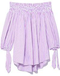 Caroline Constas Lou Off Shoulder Top In Orchid Stripe - Purple