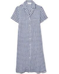 Mansur Gavriel Back Tuck Shirt Dress In Blu Gingham - Blue
