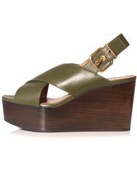 Marni Criss Cross Wedge Sandal - Multicolour
