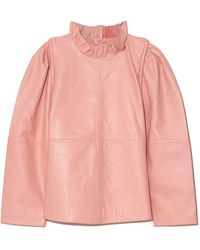 Sea Lora Leather Ruffle Neck Top - Pink