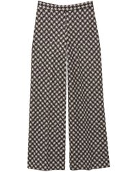Rosetta Getty Pull On Houndstooth Cropped Straight Pant - Black