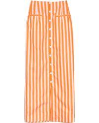 Rosie Assoulin Button Down Pencil Skirt - Orange