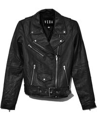VEDA Jayne Smooth Leather Jacket - Black