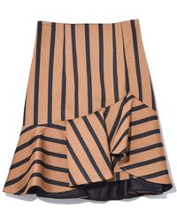 cfc3c1a3c1 Dorothee Schumacher - Structured Stripes High Waisted Skirt In Camel Black  Stripes - Lyst