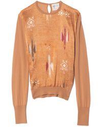 Forte Forte Blue Mountain Print Wool Satin Silk Jumper - Orange