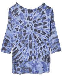 Raquel Allegra Exclusive 3/4 Sleeve Cocoon Top In Blue Feather