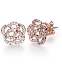 EF Collection Diamond Rose Stud Earring - Pink