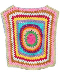Rose Carmine Patchwork Multicolour Sleeveless Top