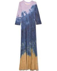 Raquel Allegra - Half Sleeve Drama Maxi Dress In Gold Rainbow - Lyst