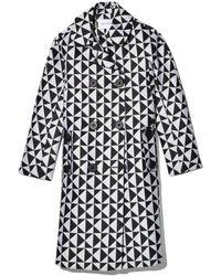 Dice Kayek Double Breasted Coat In Monogram - Black