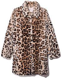 Yves Salomon Rex Rabbit Coat In Leopard - Brown