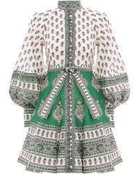 Zimmermann Amari Emerald Buttoned Dress In Green Paisley