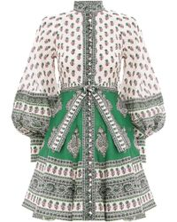 Zimmermann Amari Paisley Print Mini Dress - Green