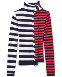 Monse - Striped Half And Half Turtleneck In White/red/navy - Lyst